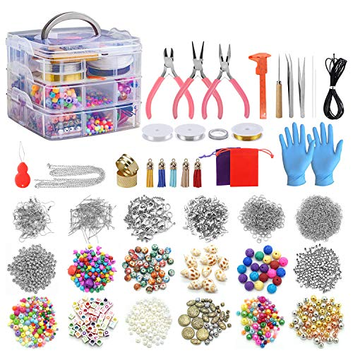 Jewelry Making Kits 2456 Pcs Jewelry Making Supplies Includes Beads, Necklace, Bracelet, Earrings Making, Crafts for Adults, Beginners, Birthday Gift for Teens, Girls, Moms, Women