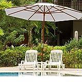 HH- Sombrillas Sombrilla de Jardín de 2,7 M con Poste Inclinable de Madera, Sombrillas de Exterior para Patio de Piscina de Playa con Sistema de Polea UV30 +, Fácil de Montar