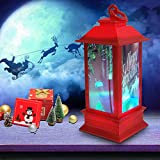 Moonhome, Christmas Atmosphere Decoration Props Plastic Luminous Night Light Beacon Led Lights Lighted Water Glittering Swirling Snow Globe Lantern Christmas Home Decoration and Gift Snowman Family