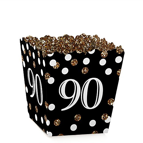 Adult 90th Birthday - Gold - Party Mini Favor Boxes - Birthday Party Treat Candy Boxes - Set of 12