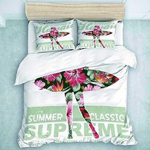 Tropical Hawaii Hibiscus Surfing Girl Silhouette Surfboard Retro Themed, Cottage Dormitorio Decorativo 3 piezas Juego de ropa de cama (1 funda de edredón + 2 fundas de almohada), Super King