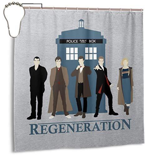 GSEGSEG Gseg Wasserdichter Polyester-Duschvorhang Doctor Who Regeneration Tardis mit Haken, 182,9 x 182,9 cm