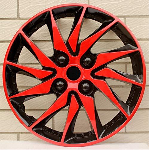 EET Set Tapacubos 15 Pulgadas, Bicolor Wheel Trims Ajuste Universal para La Mayoría De Los Vehículos, El Conjunto De 4,Red Black