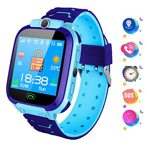 Zeerkeer Smartwatch niños, Reloj Inteligente con Llamada SOS, LBS Tracker,cámara, Despertador, Linterna, Pantalla táctil, Regalos de cumpleaños
