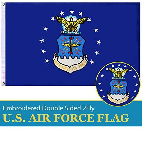 G128 - US Air Force Flag Double Sided Embroidered 3x5 ft Flag Brass Grommets