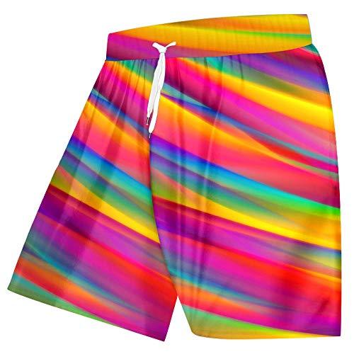 Short Homme Hommes Cool Shorts De Plage Imprimé 3D Créatif Arc-en-Ciel Couture Cool Spandex Vêtements-Rainbow_M