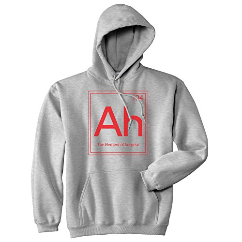 Crazy Dog Tshirts - Ah The Element of Surprise Sweatshirt Funny Periodic Table Hoodie (Heather Grey) - 3XL - Homme
