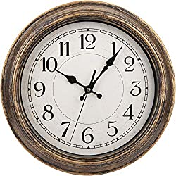 Nicunom 12-Inch Retro Wall Clock, Vintage Round Decorative Wall Clock, Silent Non-Ticking, Battery Operated Movement, Easy to Read, Decorative for Home/Living Room/Bedroom/Kitchen/Office, Antique Gold
