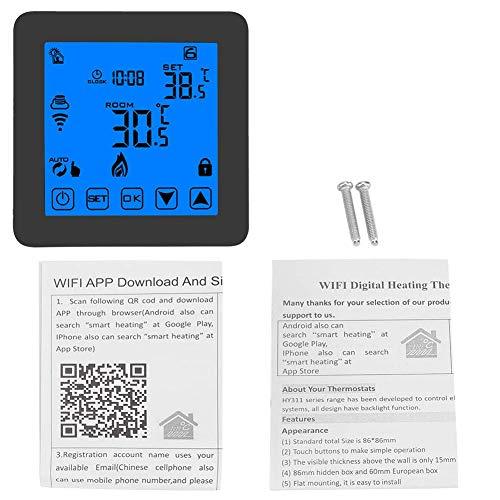 Mozusa Termostato digital, controlador de temperatura de calefacción programable de Wall-Hung Smart Wall con pantalla LCD digital WiFi inalámbrica para trabajos de casa Termostato de caldera AC90-240V