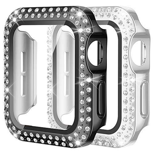 Wearlizer 2 protectores de pantalla compatibles con Apple Watch de 44 mm, serie 6, SE, 5, 4, ultrafinos, brillantes, brillantes, para iWatch, mujeres y niñas, color negro + plateado, 44 mm