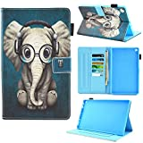 Dluggs Case for All-New HD 10, HD 10 Case, Slim Fit Lightweight PU Leather Folio Smart Stand Case Cover for HD 10 Tablet (9th/7th/5th Generation, 2019/2017/2015 Release), Music Elephant