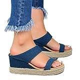 JFFFFWI Sandalias de Plataforma con cuñas para Mujer Zapatillas de Verano con Punta Abierta para Mujer Zapatillas Estilo Vaquero Informal Alpargatas con Diapositivas Cómodas Zapatos de Viaje en la p