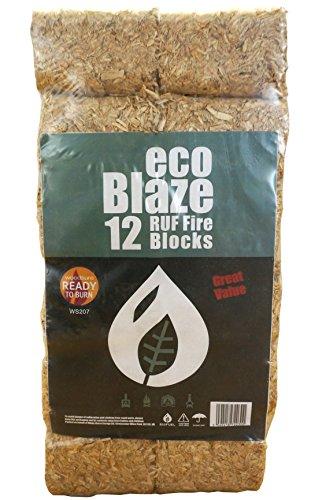 Bricchetti di Ecoblaze RUF 1 confezione (10Kg) - Legno duro a lungo bruciato, Carbon Neutral, Eco-Log Bricchette - Ideale per caminetti, stufe, camine