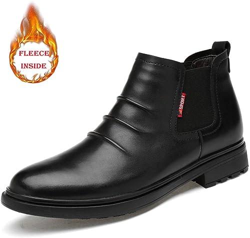 XHD-Men's schuhe Stiefel Chelsea de Moda Simple para herren, Informal y cómodo, con Arrugas Forrado con Forro Polar (Convencional Opcional)