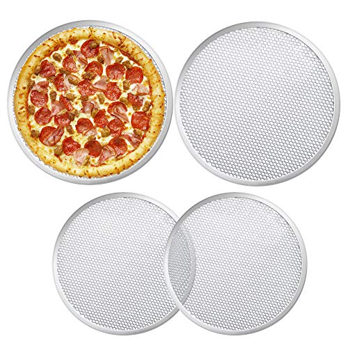 Milkary 4 Pieces Seamless Round Pizza Screen, 2 Pieces 12 inch Aluminum Mesh Pizza Screen and 2 Pieces 10 inch Pizza Mesh Baking Tray for Home Kitchen Restaurant Supplies