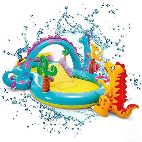 Piscina Infantil Inflable para Niños con Tobogán, Juguetes Y Cabezal De Rociado De Agua: Ideal para La Diversión Al Aire Libre Y En El Jardín para Niños (Dinosaurios) 302 * 229 * 112cm