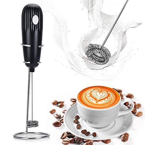 泡立て器 ミルク泡立て器 HailiCare 電動泡立て器 ドリンクミキサー ミルクフォーマー ミニコーヒー攪拌機? 牛乳 コーヒー ミルク 小型 ハンドヘルド カプチーノ カフェラテ ステンレス製 スタンド付き 収納便利