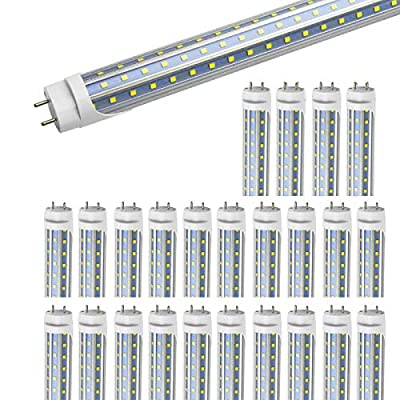 T8 LED Tube Light Bulbs 4FT, 36W 4680Lm 6000K Cool White Light, T8 T10 T12 Fluorescent Replacement Bulbs 4 Foot, High Output D-Shaped, Bi-Pin G13 Base, Dual-End Powered, Ballast Bypass (25-Pack)