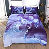 Beddinginn Flying Dragon Bedding Queen 3D Mythical Dragon Print 4 Piece Bed Set with 2 Pillow Shams Cool Duvet Cover Set for Child Gift No Comforter(Blue Dragon,Twin)