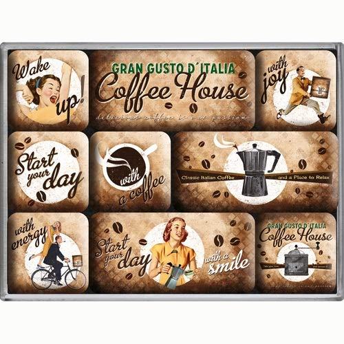 Nostalgic Art Magnet-Set 9-teilig, Magnetset für Magnettafel, Coffee & Chocolate - Coffee House, 9 Stück