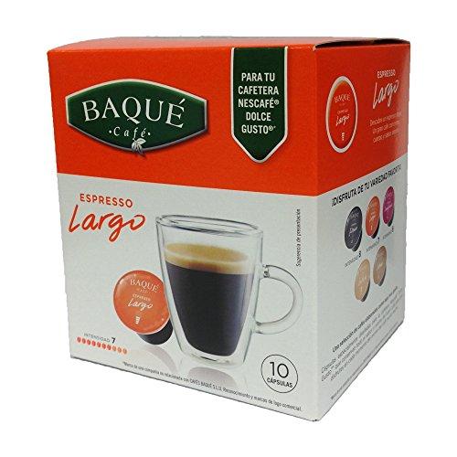 Cafés Baqué - 10 Capsulas Compatibles Dolce Gusto. Espresso Largo
