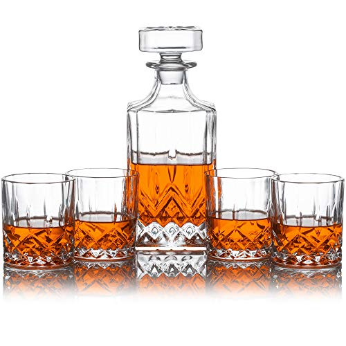 Whiskey Decanter Set - Perfect for Whiskey, Wine, or Liquor - Includes a (Lead-Free) 700 Milliliter Decanter with 4 Matching Glasses
