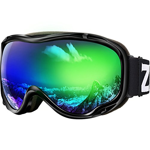ZIONOR Lagopus Ski Snowboard Goggles UV Protection Anti Fog Snow Goggles for Men Women Youth VLT 18% Black Frame Mirrored Green Lens