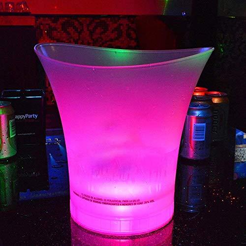 Cubo de Hielo LED Duradero lter 5L, Cubitera de champán Vino Tinto, Rosa