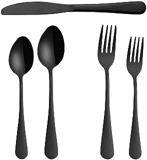 مجموعة من 5 قطع، مجموعة من الفولاذ المقاوم للصدأ من الفولاذ المقاوم للصدأ أدوات السكاكين، وأواني الأكل المائدة تشمل سكين/ش...
