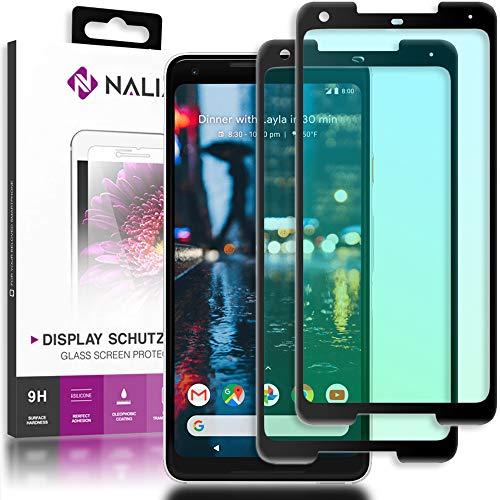 NALIA (2-Pack) Schutzglas kompatibel mit Google Pixel 2 XL, 9H Full-Cover Bildschirm Schutz Glas-Folie, Dünne Handy Schutzfolie Display-Abdeckung, Schutz-Film Screen Protector - Transparent (schwarz)
