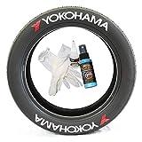 Tire Stickers Yokohama w/Logo - Kit de pegamento permanente en letras de neumáticos blancos con pegamento y limpiador de retoque de 2 onzas