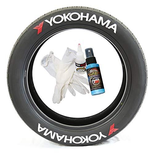 Pegatinas para neumáticos Yokohama con logotipo, pegamento permanente en blanco con pegamento y limpiador de retoque de 2 oz