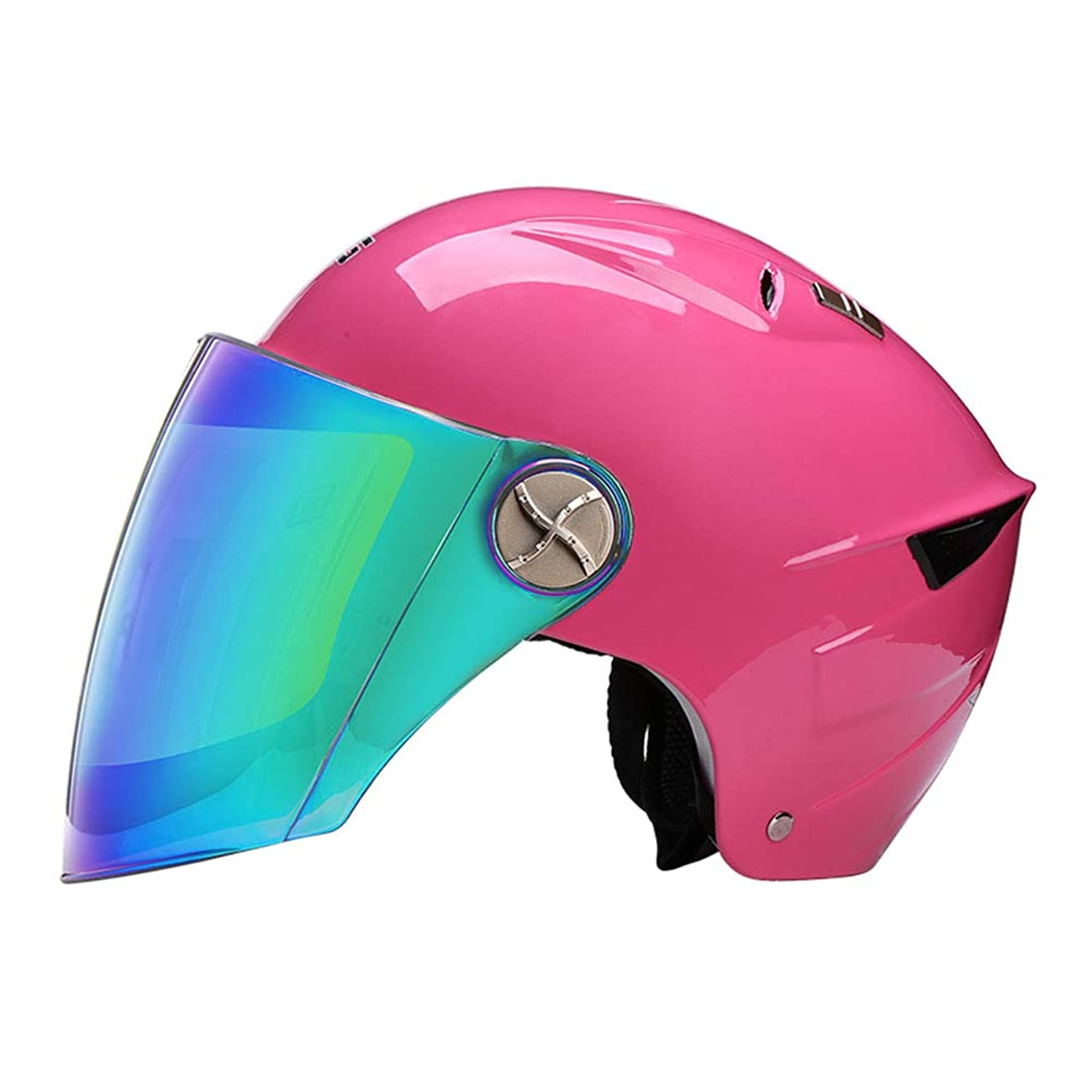 見込み乳疑いカラフルなシールド クール ヘルメット バイク 男女兼用 日焼け止め UVカット カジュアル バッテリカー フリップアップ 保護軽量 人気半帽 オールシーズン 愉快 通勤&ストリート 夏最高 ニース ピンク