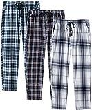 JINSHI Hombre Pantalones Largos de Pijama Algodón Casa Invierno Pantalón Cálido a Cuadros con Brague...