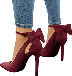 Fashare Womens Pointed Toe Pumps High Heels Bowtie Back Ankle Buckle Strap D'Orsay Dress Shoes