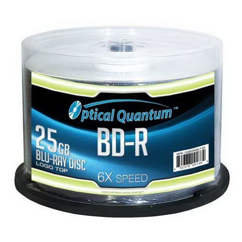 Optical Quantum OQBDR06LT-50 6X 25 GB BD-R Single Layer Blu-Ray Recordable Blank Media Logo Top, 50-Disc Spindle