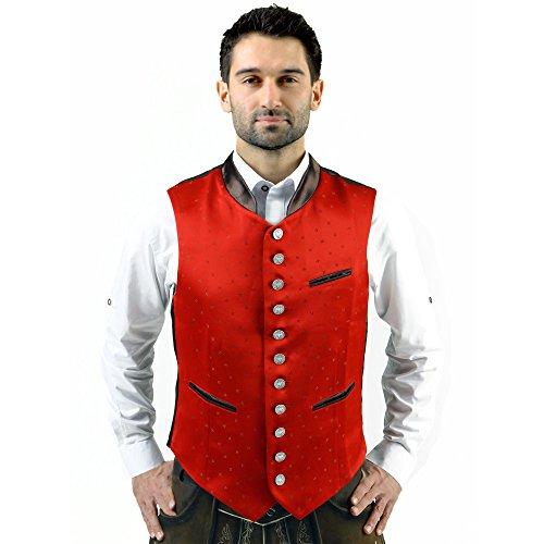 Almbock Trachten-Weste Lorenz Exclusiv in rot, für Männer in Gr. 46 48 50 52 54 56 58, Hochzeit und Oktoberfest, Moderne Weste