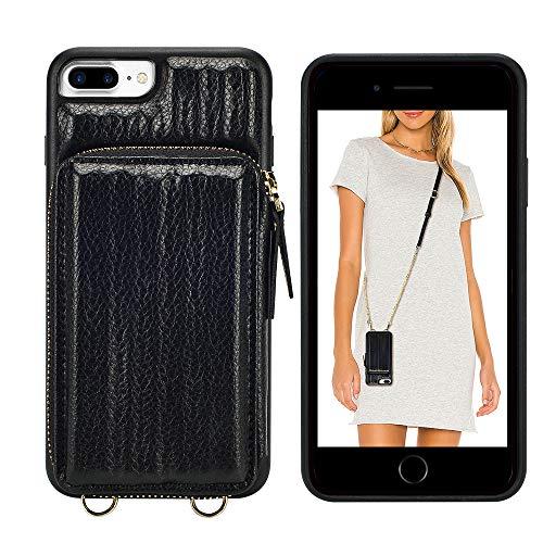 ZVEdeng - Funda tipo cartera con cremallera para iPhone 8 Plus, funda tipo cartera para iPhone 7 Plus con tarjetero, correa de cadena,...