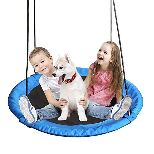 Tree Swing YXX- Outdoor Backyard Playground Saucer, 200kg Weight Capacity - Round 40 Inch Hanging Hammock Chair with Adjustable Ropes (Color : #3)