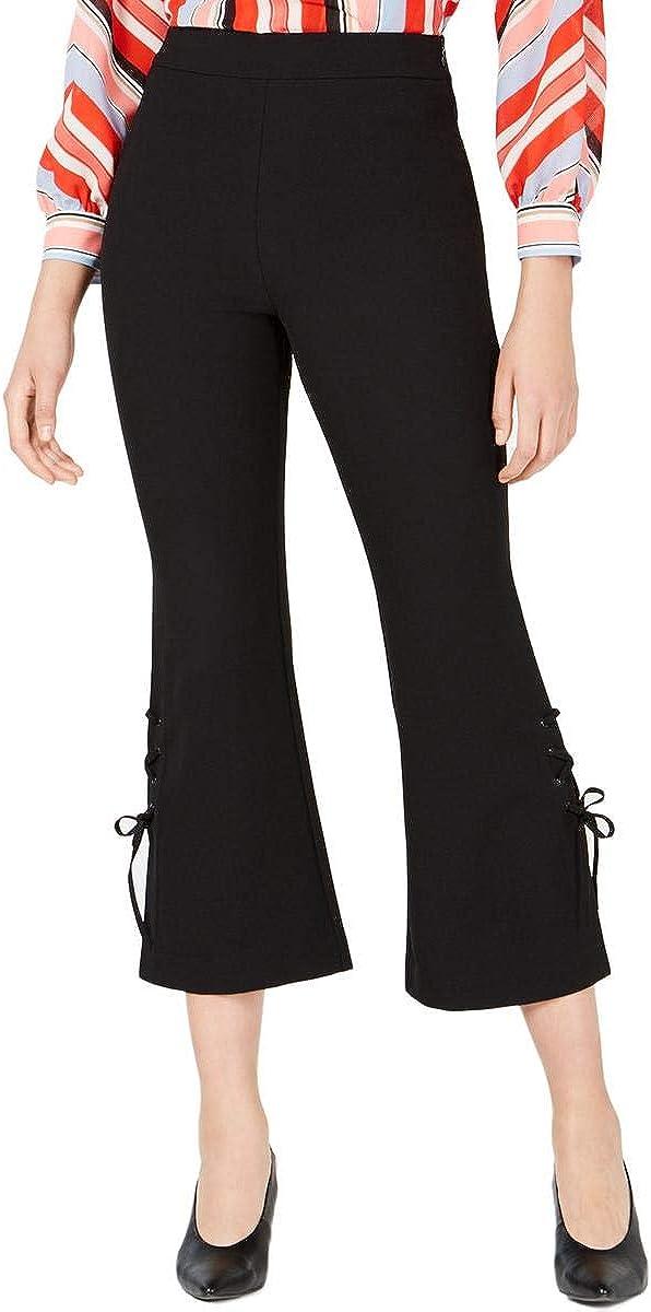 Bar III Womens Lace-Up Mid Rise Flared Pants Black XXS