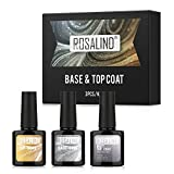ROSALIND Base Coat Top Coat Gel Uv mit Matt Top Coa, Gel Nagellack UV Überlack & Unterlack Set, Nagellack UV LED für French Varnish Nageldesign 3×10ml
