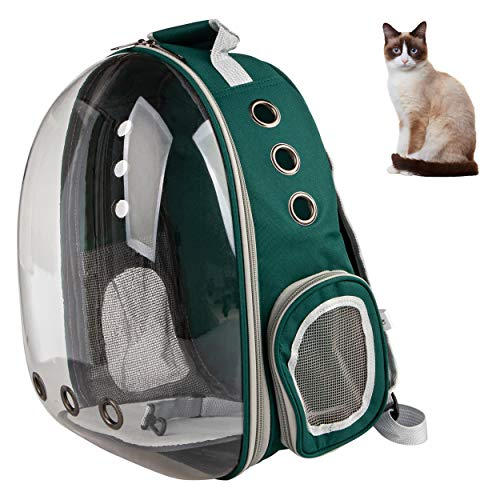XZKING Cat Carry Backpack, Ventilate Transparent Space Capsule Backpack for Puppies Traveling, Camping and Hiking (Green)