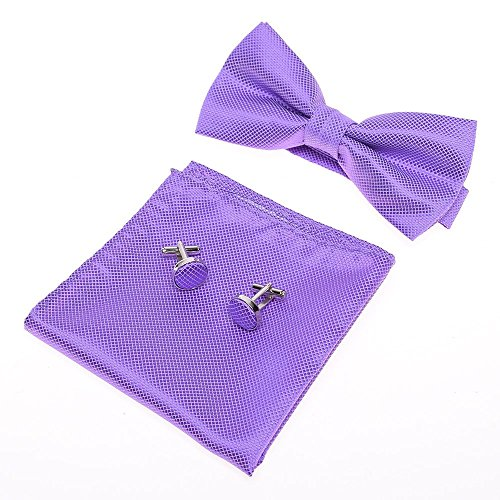 GOOTRADES Mens Boys Adjustable Pre-tied Tuxedo Bow Tie Cufflinks Pocket Square Set,Light Purple