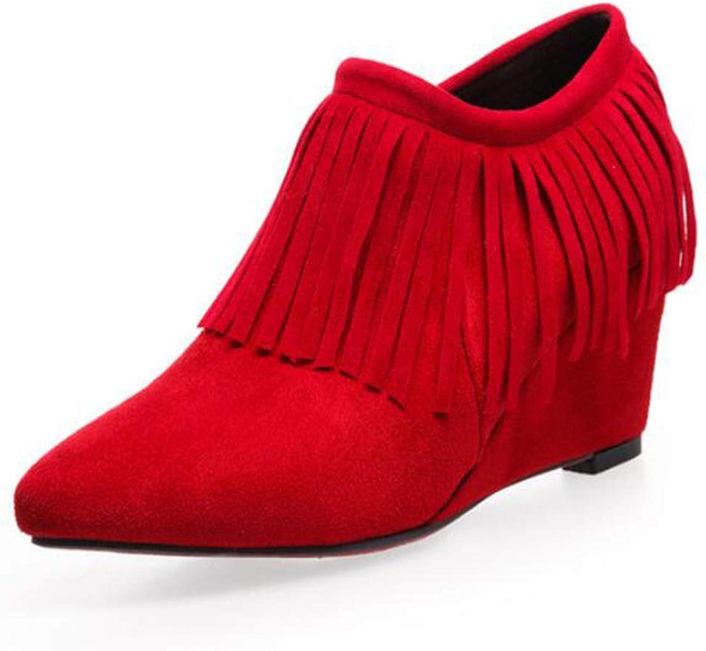 CITW Herbst Damenstiefel Keil Tassel Große Größe Nackte Stiefel Wildleder Einzel Stiefel High Heel Und Nackte Stiefel,rot,UK1 EUR35  | Kaufen Sie online
