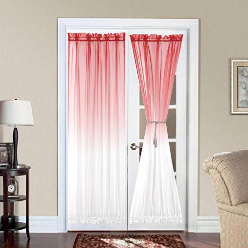 Bermino Ombre French Door Curtains, Faux Linen Voile Rod Pocket Semi Sidelight Curtain for Living Room Patio Sliding Glass Door Window Set of 2 Panels 54 x 72 inch Coral Gradient