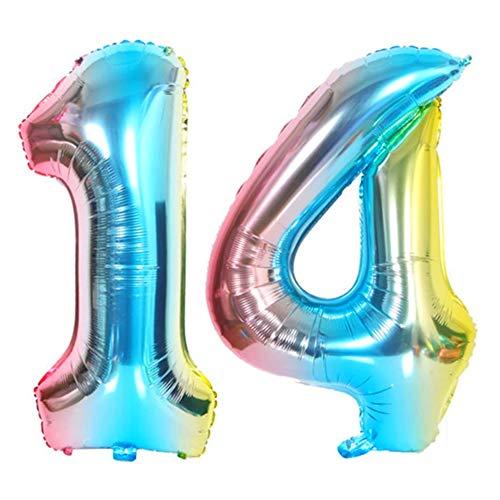 DIWULI, XL Zahlen-Ballons, Zahl 14, blau bunt Schillernde Regenbogen Luftballons, Zahlenluftballons, Folien-Luftballons Nummer Jahre, Folien-Ballons 14. Geburtstag, Party, Dekoration, Geschenk-Deko