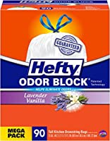 Hefty Odor Block Tall Kitchen Bags, Lavender Vanilla, 90 Count by Hefty