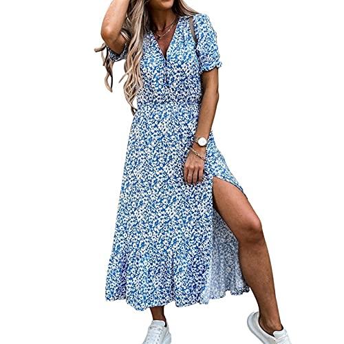 klänning Maxi tyg boho strand klänning dam lång klänning v nackbälte sommar casual sexig fest klänning bohemisk strand klänning Böhmen (Color : Print 4, Size : L)