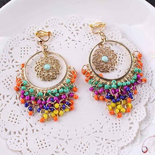 Vintage Multicolore Resina Perline Colorate Nappa Clip su Orecchini per Le Donne Accessori Moda Boho Grandi Orecchini Senza Piercing