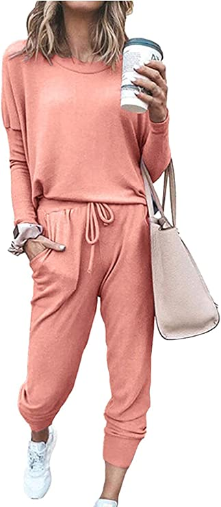 Paintcolors Women's Printed Two Piece Outfit Long Sleeve Crewneck Pullover Tops And Long Pants Sweatsuits Tracksuits